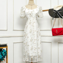 Dress Summer 2020 white S,M,L,XL Mid length dress singleton  Short sleeve commute square neck High waist A-line skirt 18-24 years old Korean version