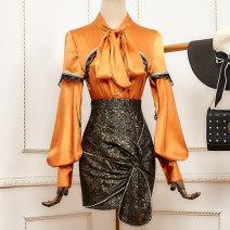 Fashion suit Winter 2020 S,M,L One piece Jacket Orange, one piece jacket black, one piece skirt 18-25 years old acrylic fibres