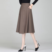 skirt Spring 2021 S / 26 M / 27 L / 28 XL / 29 XXL / 30 XXXL / 31 code selection note Black (lined) Khaki (lined) black (unlined) Khaki (unlined) Mid length dress commute High waist A-line skirt Solid color Type A DS21A335 71% (inclusive) - 80% (inclusive) Deng Sheng polyester fiber pocket