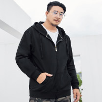 Sweater Youth fashion Fat brother black 3XL,2XL,4XL,7XL,5XL,6XL Solid color Cardigan routine Hood autumn easy leisure time Large size tide routine P913W050251 Fleece  Cotton 100% cotton No iron treatment More than 95% Side seam pocket zipper