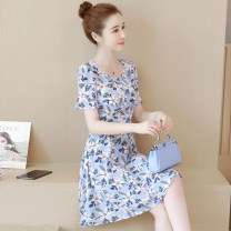 Women's large Summer 2020 Dress singleton  commute thin Short sleeve Decor Korean version Crew neck other Flying sleeve Dolanzi 25-29 years old 96% and above Middle-skirt Other 100% Pure e-commerce (online only) Princess Dress zipper