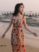 Dress Summer 2021 Decor S,M,L Mid length dress singleton  commute High waist Decor other A-line skirt camisole Type A Retro Tassel, lace