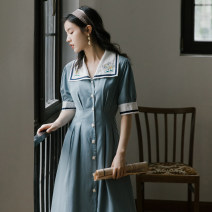 Dress Summer 2020 Gray blue S,M,L Mid length dress singleton  Short sleeve commute Admiral High waist Solid color Others Type A Retro Embroidery, buttons