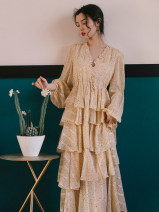 Dress Summer 2021 Beige S,M,L longuette singleton  Long sleeves commute V-neck High waist Dot other Cake skirt bishop sleeve Others Type A Retro Pleating, fungus, printing