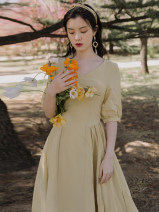Dress Summer 2020 Yellow  S,M,L Mid length dress singleton  Short sleeve commute V-neck High waist Solid color other A-line skirt other Others Type A Retro