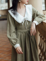 Dress Winter 2020 Picture color S,M,L Mid length dress singleton  Long sleeves commute Doll Collar High waist Solid color Socket A-line skirt routine Type A Retro Bows, lace, prints