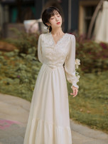 Dress Spring 2021 white S,M,L longuette singleton  Long sleeves commute V-neck High waist Solid color A-line skirt routine Type A Retro Stitching, lace