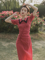 Dress Summer 2021 gules S,M,L Mid length dress singleton  Short sleeve commute Admiral High waist Solid color other Big swing routine Others Type A Retro Fold, splice