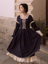 Dress Autumn 2020 Deep royal blue S,M,L Mid length dress singleton  Long sleeves commute square neck High waist Solid color other Big swing bishop sleeve Breast wrapping Type A Retro Pleats, lace