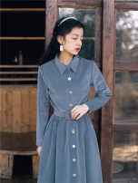 Dress Winter 2020 blue S,M,L Mid length dress singleton  Long sleeves commute Polo collar High waist Solid color Single breasted other Others Type A Retro Button