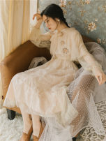 Dress Spring 2021 Apricot S,M,L Mid length dress Two piece set Long sleeves commute V-neck High waist Solid color other Others Type A Retro Embroidery, lace, lace