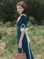Dress Summer 2021 blue S,M,L Mid length dress singleton  Short sleeve commute Doll Collar High waist Solid color other Big swing pagoda sleeve Others Type A Retro Bows, ruffles, stitching, buttons, lace