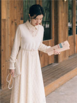 Dress Winter 2020 Apricot S,M,L Mid length dress Fake two pieces Long sleeves commute Polo collar High waist Type A Retro Stitching, nail bead