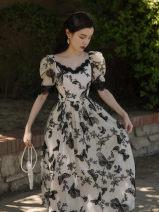 Dress Spring 2021 black S,M,L Mid length dress singleton  Short sleeve commute V-neck High waist puff sleeve Retro Embroidery, lace