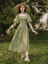 Dress Summer 2021 green S,M,L Mid length dress singleton  Short sleeve commute square neck High waist Solid color other Big swing puff sleeve Type A Retro