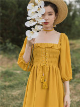 Dress Autumn 2020 Ginger  S,M,L Mid length dress singleton  elbow sleeve commute square neck High waist Solid color other Big swing Bat sleeve Others Type A Retro Fold, fungus, bandage