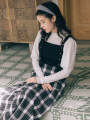Dress Winter 2020 White top + Red and white plaid skirt, white top + black and white plaid skirt S,M,L Mid length dress Two piece set Long sleeves commute straps Retro