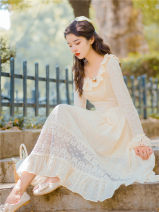 Dress Autumn 2020 Beige S,M,L Mid length dress singleton  Long sleeves commute High waist Solid color Big swing pagoda sleeve Type A Retro Lace