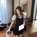 Dress Summer 2020 Black [in stock] XS,S,M,L Short skirt singleton  Short sleeve commute V-neck High waist zipper puff sleeve 25-29 years old Type H Korean version 81% (inclusive) - 90% (inclusive) cotton