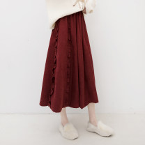 skirt Spring 2021 Average size Mid length dress commute High waist A-line skirt Solid color Type A 71% (inclusive) - 80% (inclusive) other Good morning diary polyester fiber Lotus leaf edge, fungus Korean version