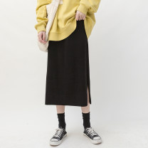 skirt Autumn 2020 Average size Dark gray, Beixing, brown, black, thickened black Mid length dress commute High waist skirt Solid color Type H zfy82547 71% (inclusive) - 80% (inclusive) knitting Good morning diary other Simplicity