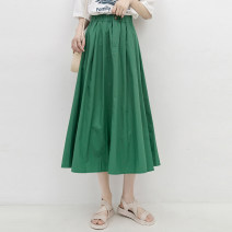 skirt Summer 2021 Average size Green, gardenia yellow Mid length dress Versatile High waist A-line skirt Solid color Type A 51% (inclusive) - 70% (inclusive) other Good morning diary cotton Button