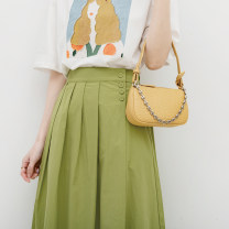 skirt Spring 2021 Average size Mid length dress commute High waist A-line skirt Solid color Type A More than 95% Good morning diary cotton Button literature