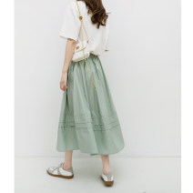 skirt Spring 2021 Average size Black, apricot, mint Mid length dress commute High waist A-line skirt Solid color Type A zfy64872 81% (inclusive) - 90% (inclusive) Good morning diary cotton Simplicity