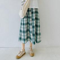 skirt Spring 2021 S, M Green Grid Mid length dress Retro High waist A-line skirt lattice Type A zfy95012 More than 95% cotton