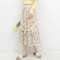 skirt Spring 2021 Average size Picture color Mid length dress grace High waist A-line skirt Decor Type A gt53660 More than 95% Chiffon Good morning diary polyester fiber