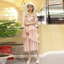 Women's large Summer of 2019 3XL suggests 135-155 kg, 4XL 155-170 kg, 5XL 170-190 kg, 6xl 190-220 kg Dress singleton  commute Straight cylinder moderate Conjoined Short sleeve Solid color Korean version Crew neck Medium length Polyester, cotton Three dimensional cutting routine fungus Cake skirt
