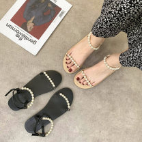 Sandals 35,36,37,38,39 Apricot, black PU Other / other Round head Flat bottom Low heel (1-3cm) Spring 2021 Trochanter leisure time Solid color Adhesive shoes Youth (18-40 years old) rubber daily Back space Low Gang Hollow PU Microfiber skin Baotou sandals
