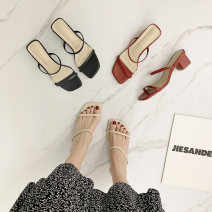 Sandals 35,36,37,38,39 Apricot, red, black PU Other / other Square head Thick heel Middle heel (3-5cm) Summer 2021 Flat buckle leisure time Solid color Adhesive shoes Youth (18-40 years old) rubber daily Back space Low Gang Hollow PU PU Roman shoes
