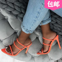 Sandals 35,36,37,38,39,40,41,42 Black, fluorescent green Suede OULLIS Fish mouth Fine heel Super high heel (over 8cm) Summer of 2019 zipper Europe and America Solid color rubber banquet Bag heel Cross tie, shallow mouth Low Gang Lateral space Roman shoes