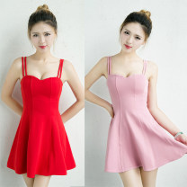 Dress Summer 2020 White, red, black, pink XS,S,M,L,XL Miniskirt singleton  Sleeveless commute V-neck High waist Solid color Socket Princess Dress other camisole 25-29 years old Type A Mulan Yuyan Simplicity Splicing 71% (inclusive) - 80% (inclusive) knitting cotton