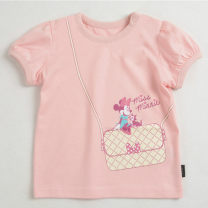 T-shirt Pink Other / other The height of 2T is about 80cm, 3T is about 90cm, 4T is about 100cm, 5T is about 110cm, 6T is about 120cm, 7T is about 125cm female summer Short sleeve Crew neck leisure time No model nothing cotton Cartoon animation Cotton 95% polyurethane elastic fiber (spandex) 5%