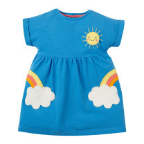 Dress blue female Other / other The height of 2T is about 85CM, 3T is about 90cm, 4T is about 100cm, 5T is about 110cm, 6T is about 120cm, 7T is about 130cm Cotton 95% other 5% summer leisure time Short sleeve Cartoon animation cotton Flower bud skirt