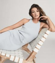 Dress Summer 2021 Light blue special price does not return, dark blue special price does not return Xs, s, m, l Mid length dress singleton  Sleeveless Sweet Crew neck middle-waisted Solid color Socket Pencil skirt other Others Type H Other / other Frenulum 31% (inclusive) - 50% (inclusive) other