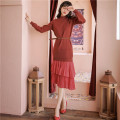 Dress Spring 2021 Picture color (with belt) S,M,L longuette singleton  Long sleeves commute Crew neck High waist Solid color Socket Ruffle Skirt routine 25-29 years old Type H court Ruffles, folds, stitches More than 95% cotton