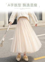 skirt Spring 2020 S,M,L,XL,2XL Black, gray, champagne, pink, coffee longuette commute High waist Pleated skirt Solid color Type A 18-24 years old MOTHER-LV-95 More than 95% INSFREDDY polyester fiber Gauze Korean version 351g / m ^ 2 (including) - 400g / m ^ 2 (including)