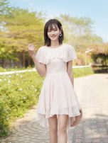 Dress Summer 2021 Apricot powder dress S M L Short skirt singleton  Short sleeve commute Crew neck High waist Solid color Socket A-line skirt Lotus leaf sleeve 25-29 years old ATAR Lotus leaf edge L2395 More than 95% polyester fiber Polyester 100% Pure e-commerce (online only)