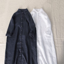 Dress Summer 2021 230 Tibetan blue, 01 pure white L, M longuette singleton  Long sleeves commute Loose waist Solid color Single breasted other routine Others Maz & Hu / MA Zhu literature Pocket, button More than 95% hemp
