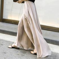 Casual pants Black, lotus root Pants length 90cm (for 155-160 height), pants length 95cm (for 160-165 height), pants length 100cm (for 165-170 height), pants length 105cm (for 170-175 height), free customized short, message length Spring 2017 trousers Wide leg pants High waist street Thin money
