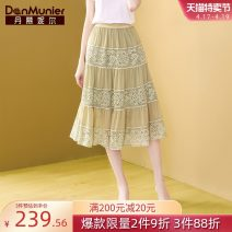 skirt Summer 2021 155/64A/S 160/68A/M 165/72A/L 170/76A/XL 175/80A/XXL Light green Mid length dress commute Natural waist A-line skirt Decor Type A 35-39 years old More than 95% Lace Danmunier polyester fiber Pleated lace lady Polyester 100% Pure e-commerce (online only)