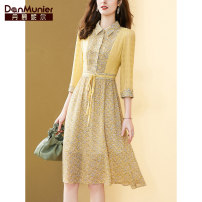 Dress Summer 2021 yellow 155/80A/S 160/84A/M 165/88A/L 170/92A/XL 175/96A/XXL Mid length dress Fake two pieces three quarter sleeve commute Doll Collar High waist Broken flowers Single breasted shirt sleeve Others 35-39 years old Type X Danmunier lady Bow fold lace up button zipper print Chiffon