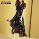 Dress Summer 2020 Decor 155/80A/S 160/84A/M 165/88A/L 170/92A/XL 175/96A/XXL longuette singleton  Short sleeve commute V-neck middle-waisted Decor Socket A-line skirt routine Others 35-39 years old Type A Danmunier lady Ruffle zipper print More than 95% polyester fiber Polyester 100%