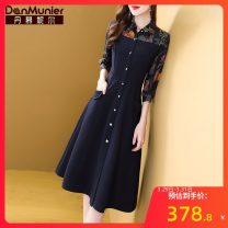 Dress Spring 2021 navy blue 155/80A/S 160/84A/M 165/88A/L 170/92A/XL 175/96A/XXL Mid length dress singleton  three quarter sleeve commute Polo collar middle-waisted Abstract pattern Single breasted A-line skirt shirt sleeve Others 35-39 years old Type A Danmunier lady 30% and below other nylon