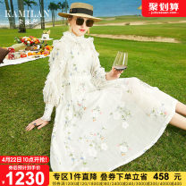 Dress Spring 2021 white S M L XL Mid length dress Long sleeves street stand collar middle-waisted Socket A-line skirt other Others 35-39 years old Type A Kamilan kamilan Embroidery KML21A11077 More than 95% hemp Ramie 100% Europe and America