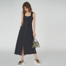 Dress Spring of 2019 Black, denim S, M longuette singleton  Sweet High waist Solid color zipper Big swing straps 18-24 years old Stitching, backless other cotton