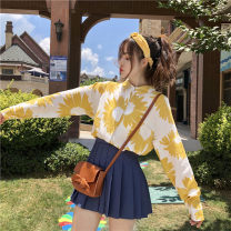 Professional dress suit Average size Sunflower shirt, blue pleated trouser skirt s, blue pleated trouser Skirt M, blue pleated trouser skirt L Spring of 2019 loose coat Under 17